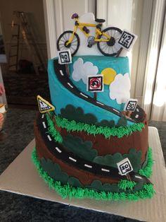Peachy 9 Biker 2 Tier Cakes Photo Bicycle Birthday Cake Mountain Bike Personalised Birthday Cards Xaembasilily Jamesorg