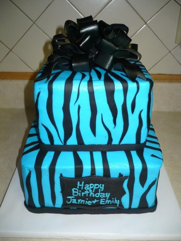 7 Blue And Zebra Cakes Photo Blue Zebra Print Birthday Cake Blue