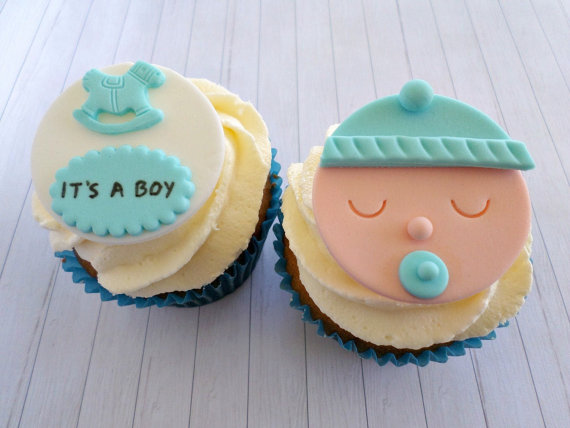 13 Topper On Baby Face Cupcakes Photo Baby Shower Cupcakes Fondant