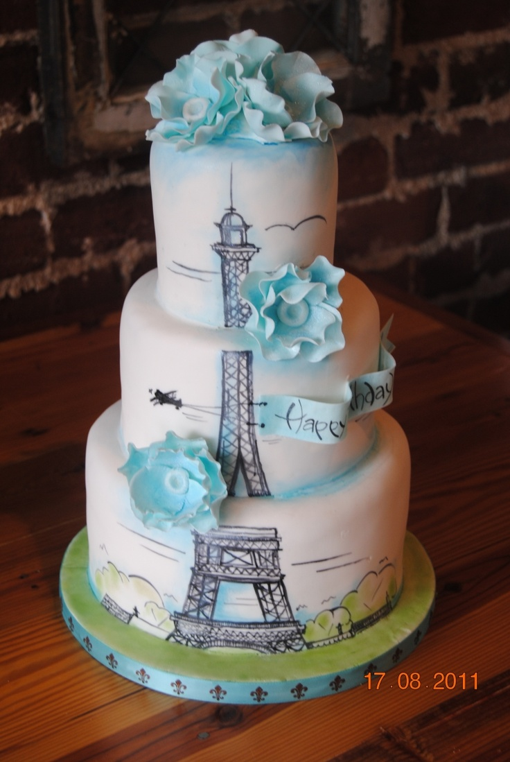 Girls Paris Birthday Cake