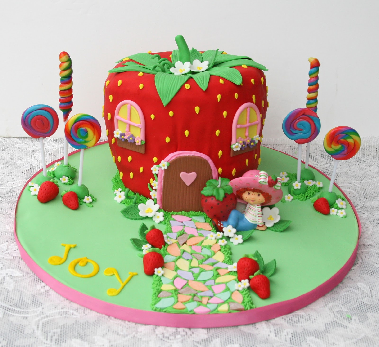 Astounding Strawberry Shortcake Cartoon Birthday Cake Funny Birthday Cards Online Elaedamsfinfo