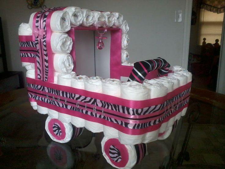 9 Zebra Print Diaper Cakes Carriage Photo Zebra Print Baby Shower