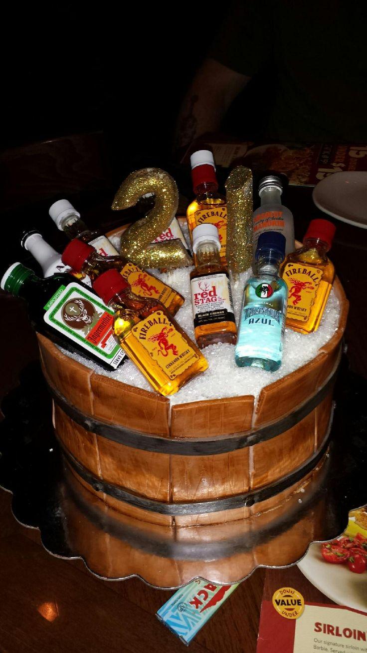 21st Birthday Cake With Liquor Bottles
