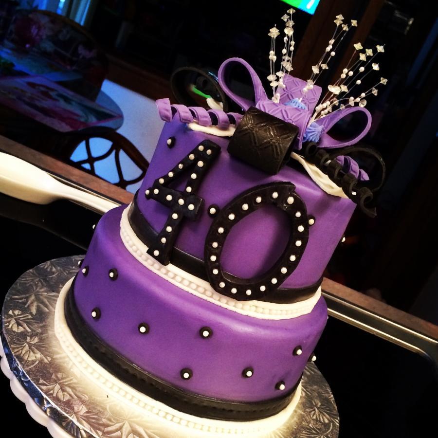 8 Happy 40th Birthday Cakes Purple Photo 40th Birthday Cake