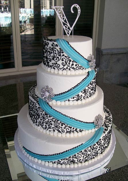 Black White and Blue Wedding Cake