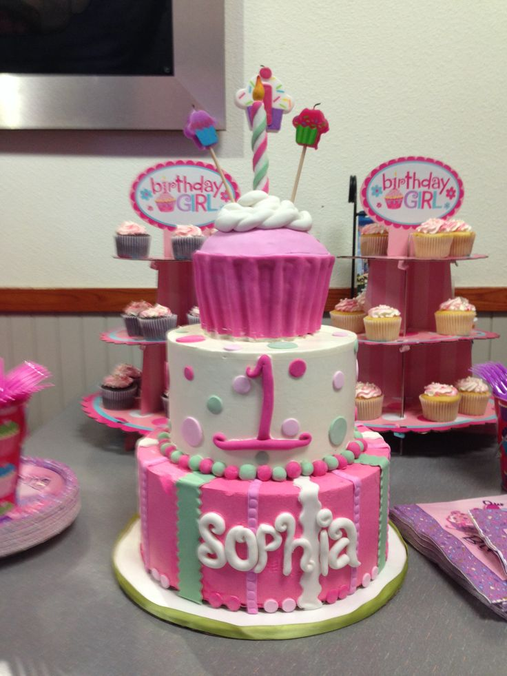 Girls Cupcake 1st Birthday Theme Cake