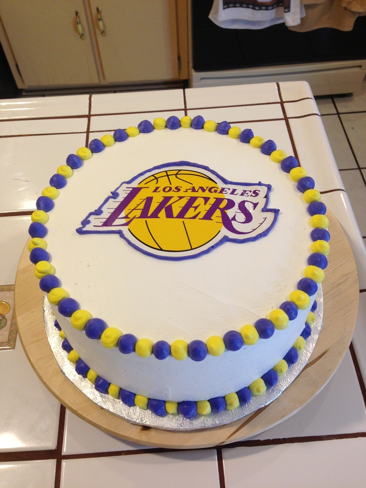 Superb 11 La Lakers Themed Cakes Photo Lakers Basketball Cake Lakers Funny Birthday Cards Online Sheoxdamsfinfo