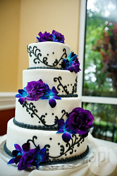 Purple Blue and White Wedding Cake