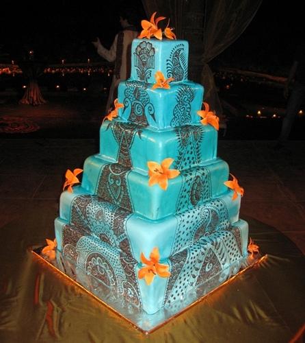 9 Turquoise And Orange Wedding Cakes