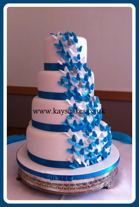 Turquoise and White Wedding Cake