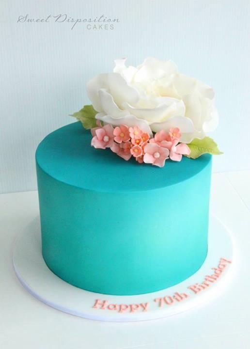Chocolate Bundt Cake Decorated With Coral Aqua