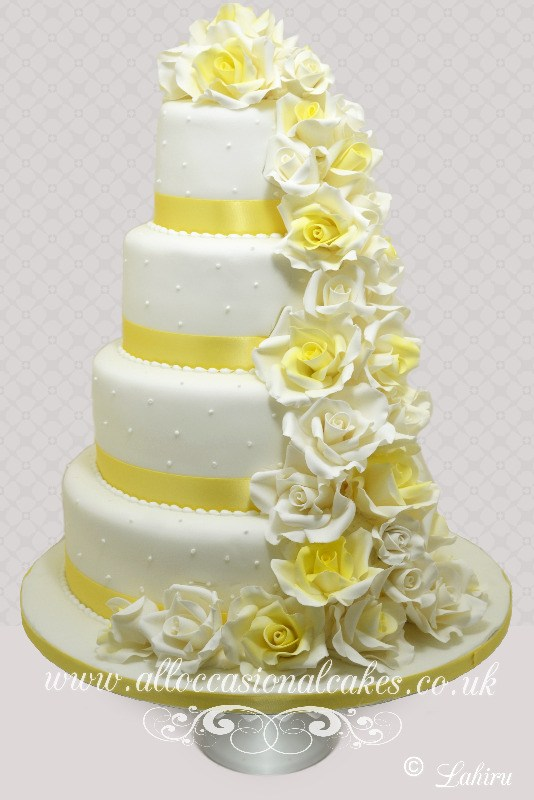 10 Wedding Cupcakes Blue And Yellow Roses Photo - Wedding Cakes with ...