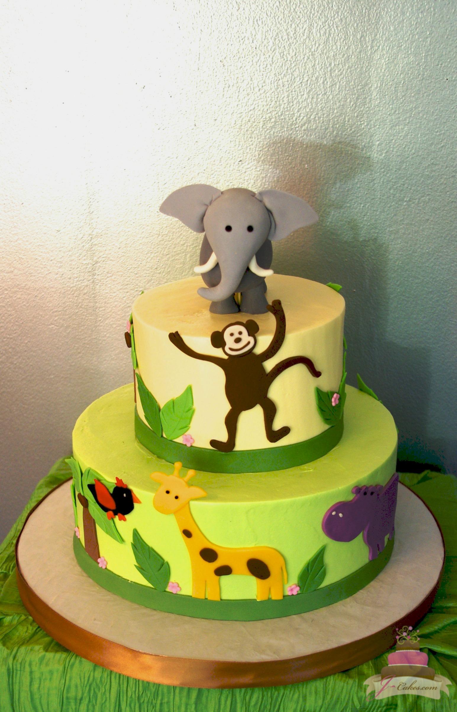 Zoo Animal Themed Birthday Cake