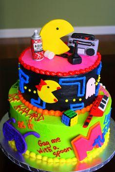 80s Style Birthday Cake