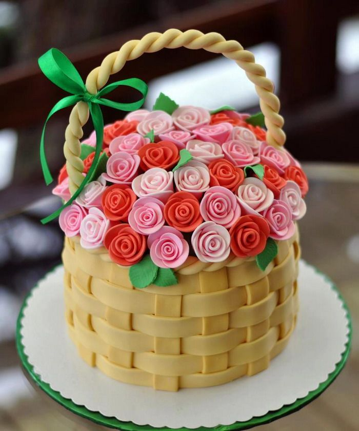 Birthday Cake With Flowers Basket