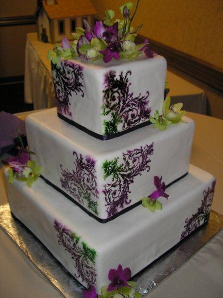 11 Square Wedding Cakes Purple Gold Photo - Purple and Gold Wedding ...