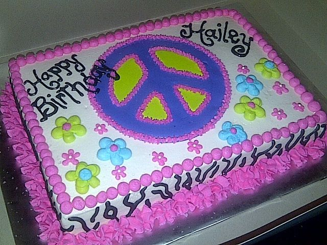 Amazing 9 Birthday Sheet Cakes Peace Sign Photo Peace Sign Birthday Cake Personalised Birthday Cards Epsylily Jamesorg