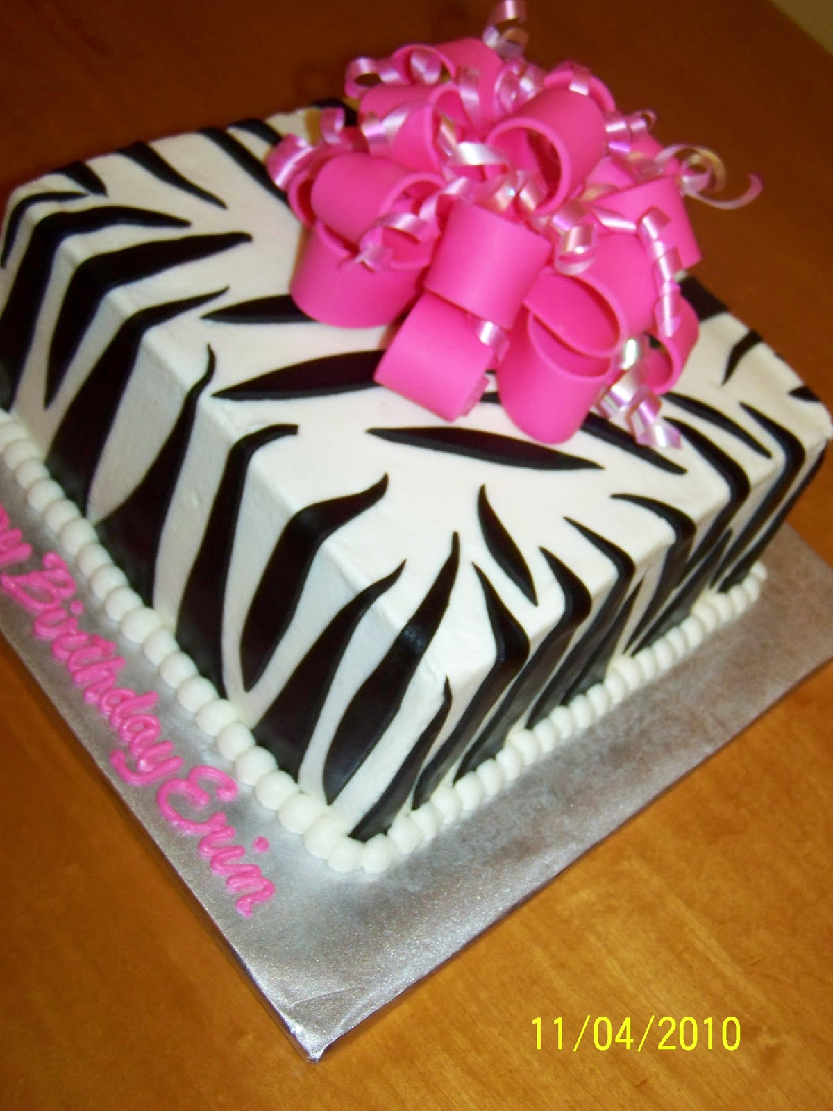 7 Square Buttercream Cakes Zebra Photo Pink and Black Zebra Cake