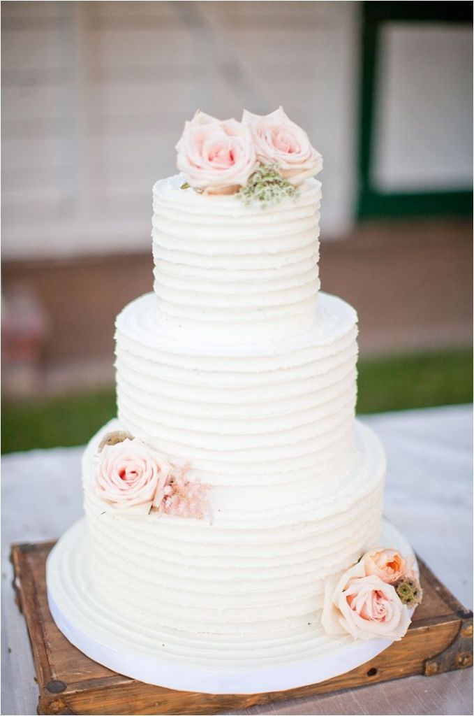 11 Simple Buttercream Wedding Cakes Flowers Photo Simple