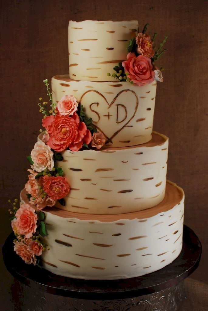 9 White Wedding Cakes Tree Bark Photo - Tree Bark Wedding Cake, Tree ...