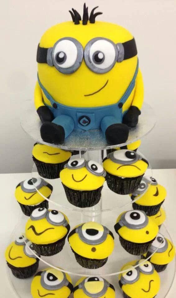 Super 8 Despicable Me Birthday Cake Cupcakes Photo Despicable Me Personalised Birthday Cards Rectzonderlifede