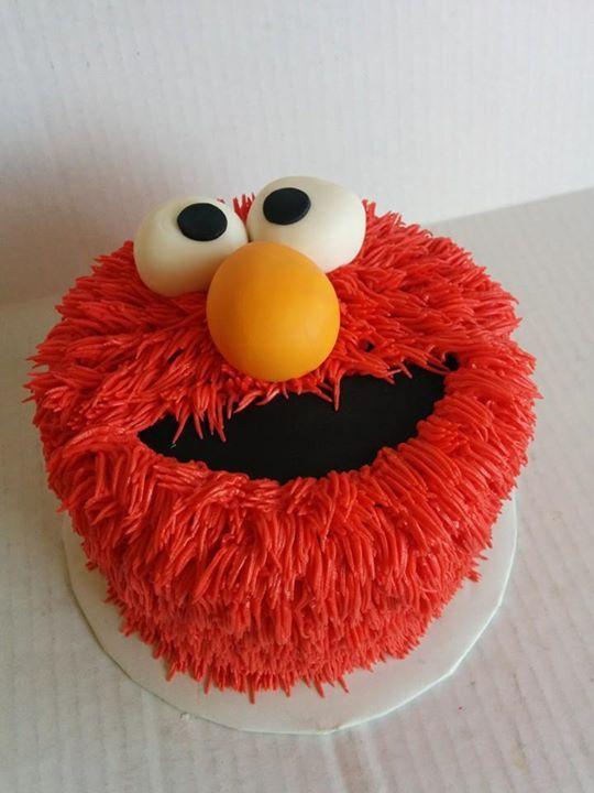 7 Simple Two Tier Sesame Street Cakes Photo - Elmo Birthday