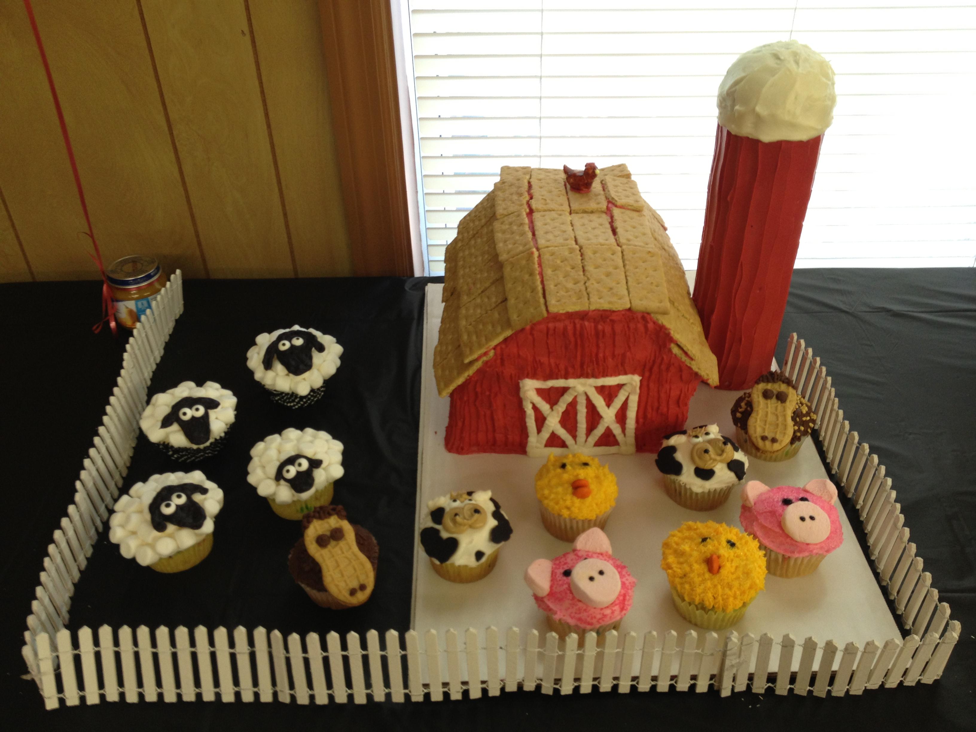10 Farm Animal Baby Shower Cupcakes Photo Farm Animal Theme Baby