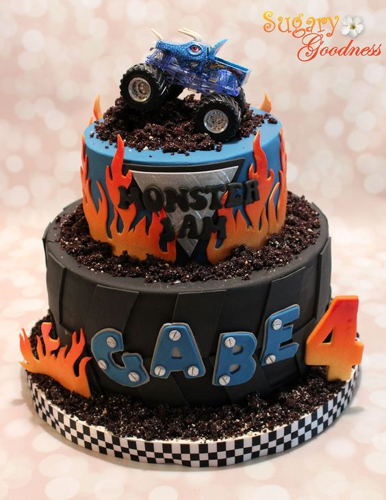 Stupendous 8 Monster Jam Cakes Photo Monster Jam Birthday Cake Monster Jam Funny Birthday Cards Online Elaedamsfinfo