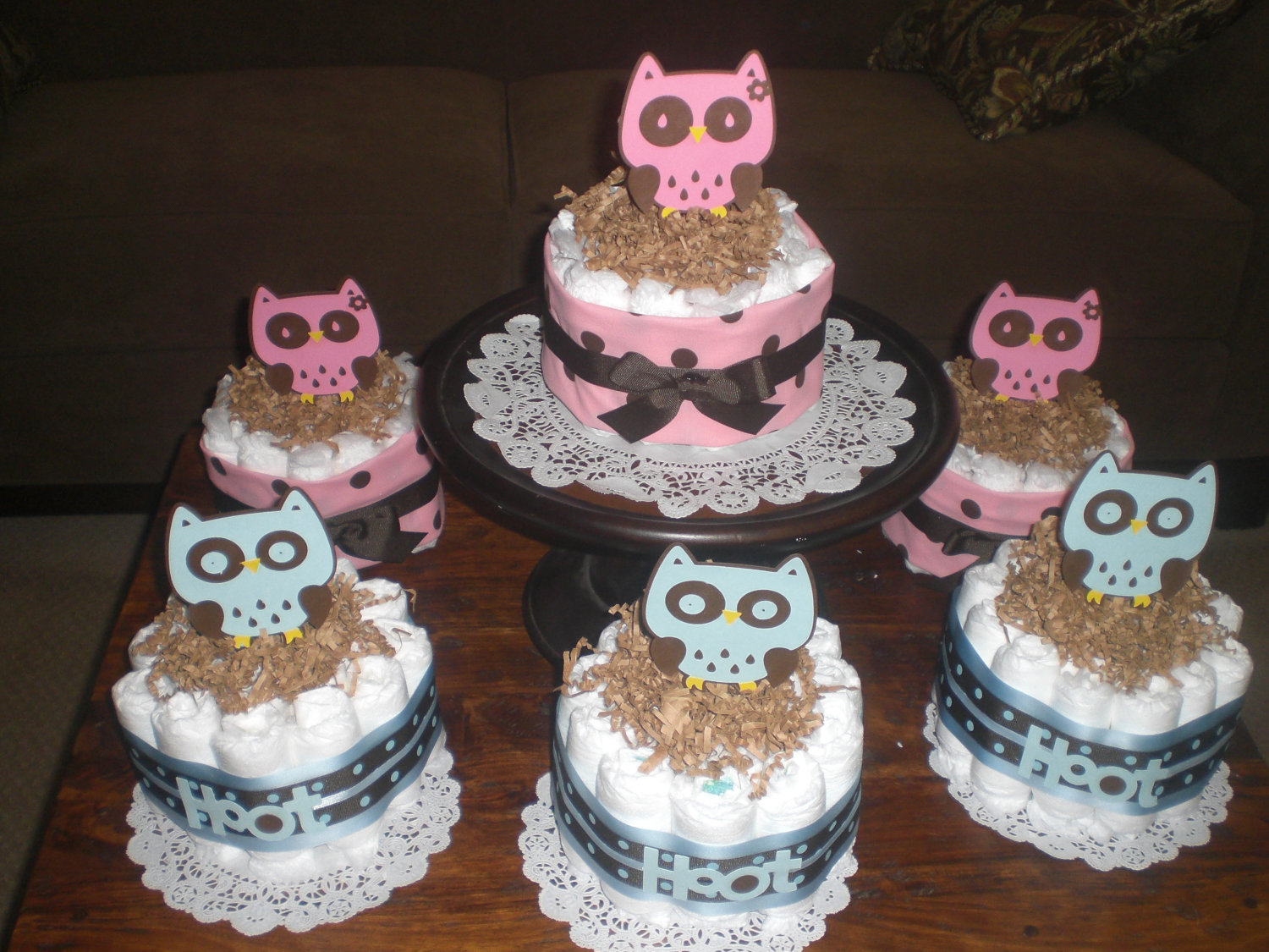 11 Mini Diaper Cakes For Baby Showers Photo Owl Baby Shower Diaper