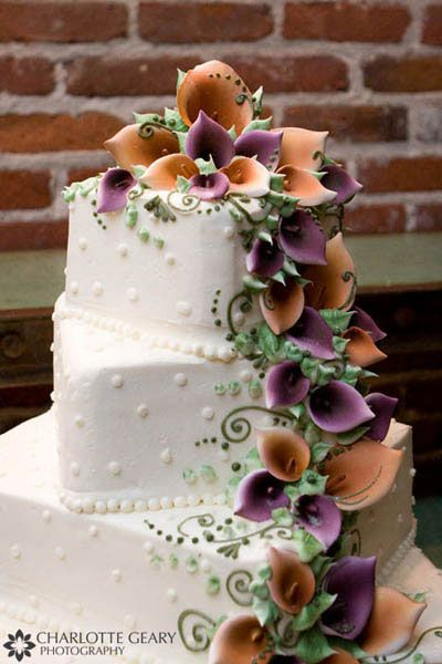 10 Purple Calla Lily Square Cakes Photo - Wedding Cake with Calla ...
