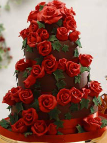 12 Valentine S With Red Roses Wedding Cakes Fondant Photo