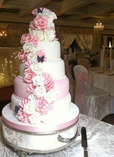 7 White 5 Tier Cakes Photo White 5 Tier Wedding Cakes With Flowers