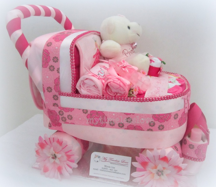10 Stroller Diaper Cakes For Girls Photo Baby Carriage Diaper Cake