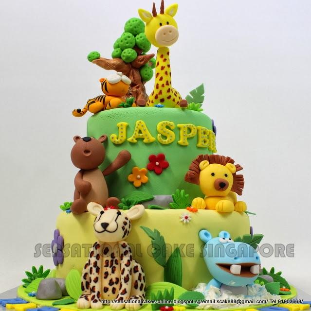 Pleasing 10 Animal Safari Themed Cakes Photo Jungle Animal Birthday Cake Funny Birthday Cards Online Elaedamsfinfo