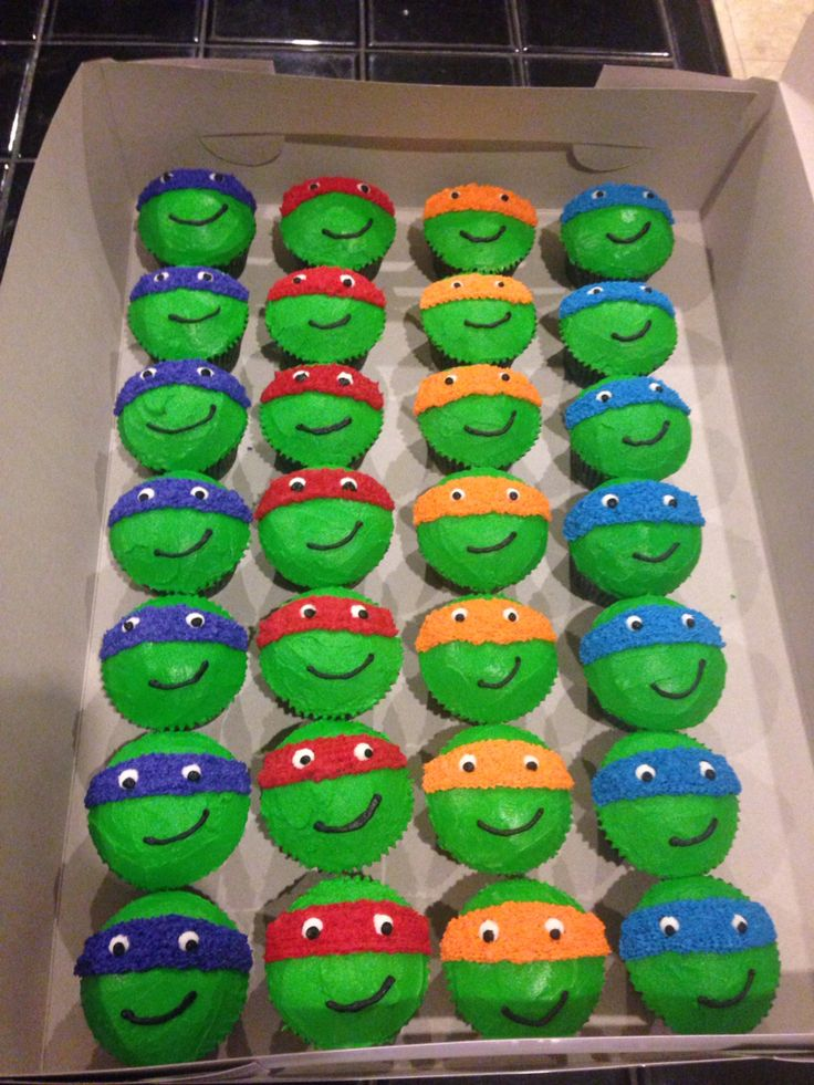12 Teenage Mutant Ninja Turtle Birthday Cake And Cupcakes Photo