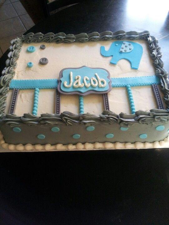 Elephant Boy Baby Shower Sheet Cake