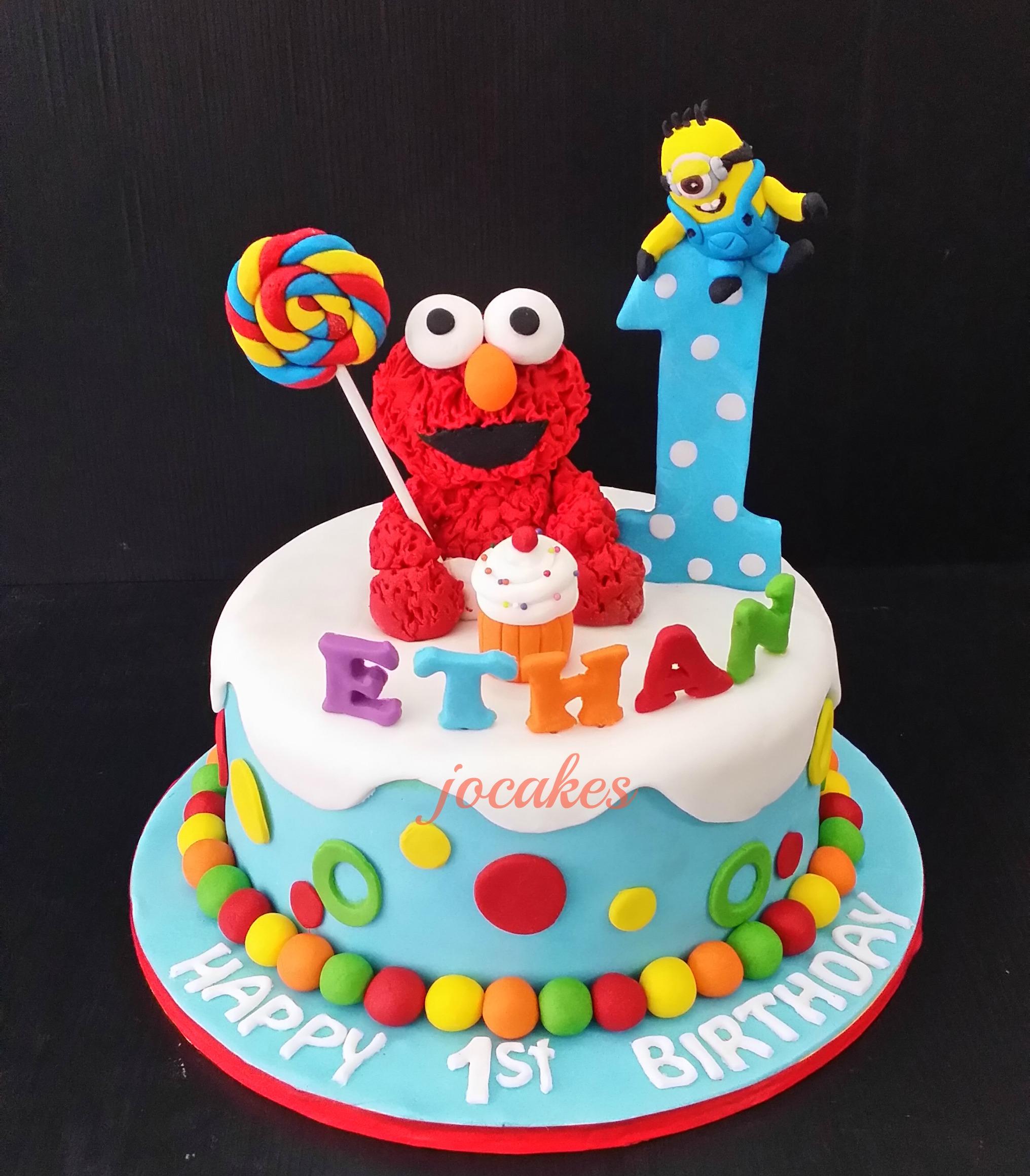 Awe Inspiring 12 Elmo 1St Birthday Square Cakes Photo Elmo 1St Birthday Cake Personalised Birthday Cards Paralily Jamesorg
