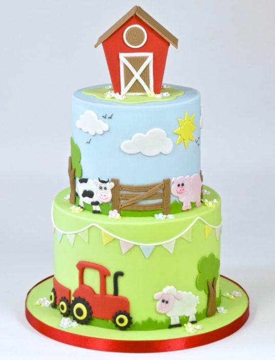 10 Barnyard Fondant Cakes Photo Farm Animals Birthday Cake
