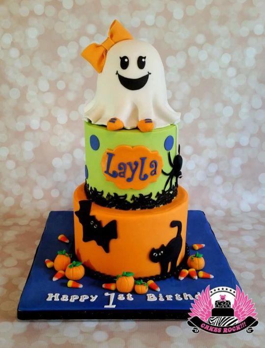 Enjoyable 11 Ghost Halloween Birthday Cakes Photo Halloween First Birthday Funny Birthday Cards Online Elaedamsfinfo