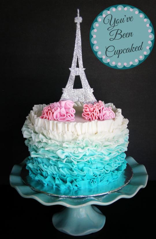 Peachy 11 Cool Blue Paris Cakes Photo Girls Paris Birthday Cake Paris Funny Birthday Cards Online Fluifree Goldxyz