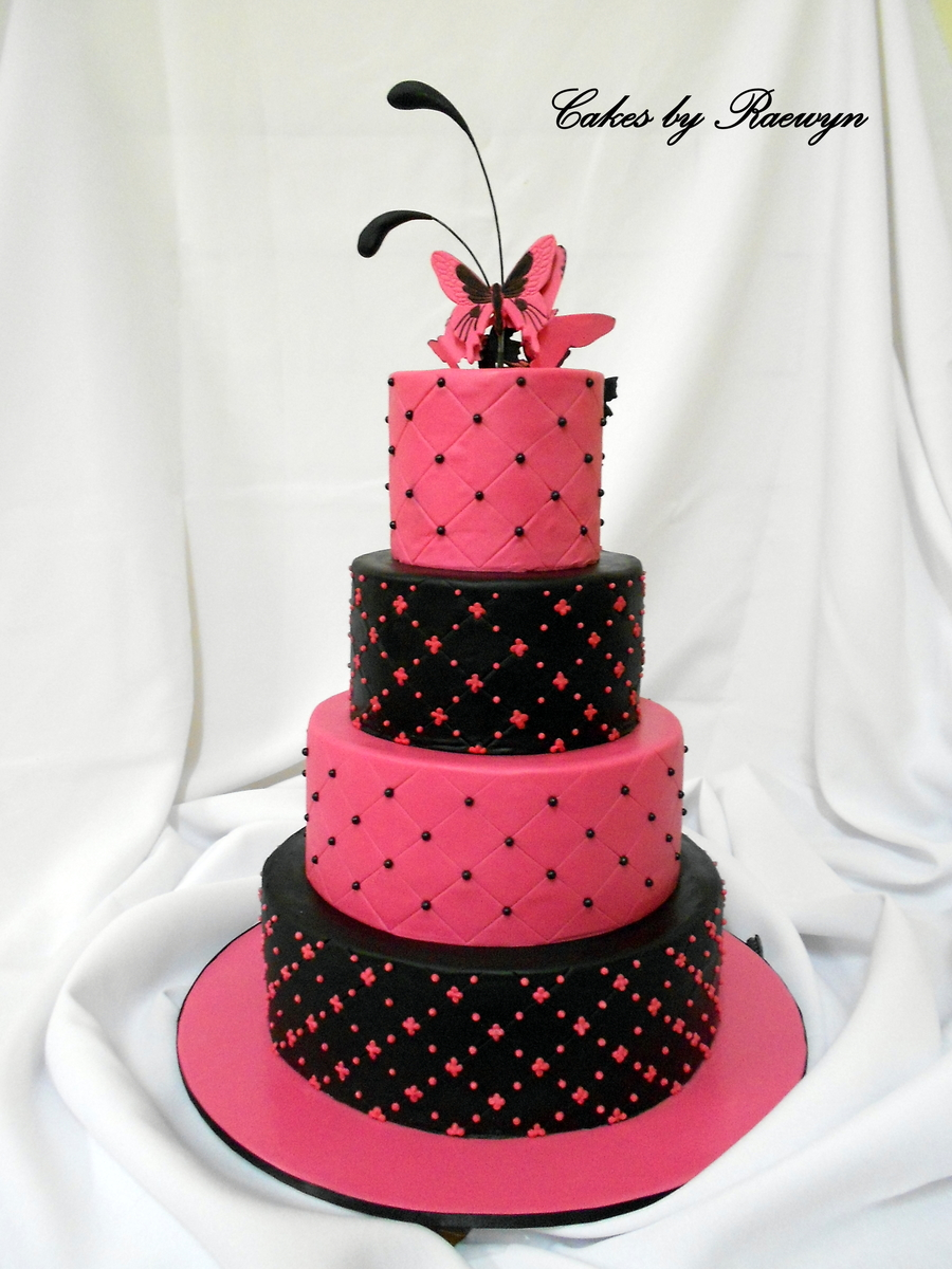 black and pink wedding cake pictures 9 pink black and white fondant cakes photo pink 11820