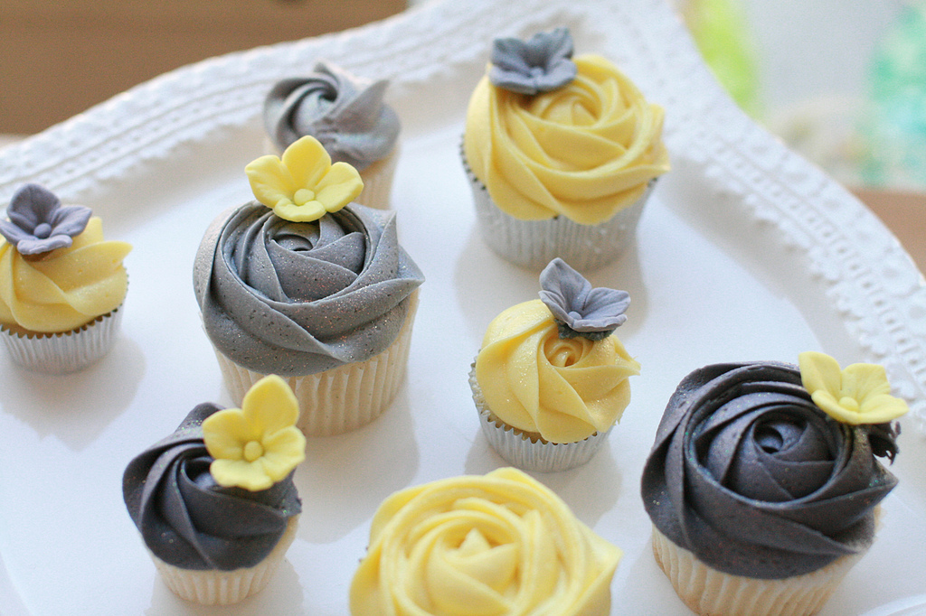 11 Yellow And Gray Bridal Shower Cupcake Cakes Photo - Yellow and ...