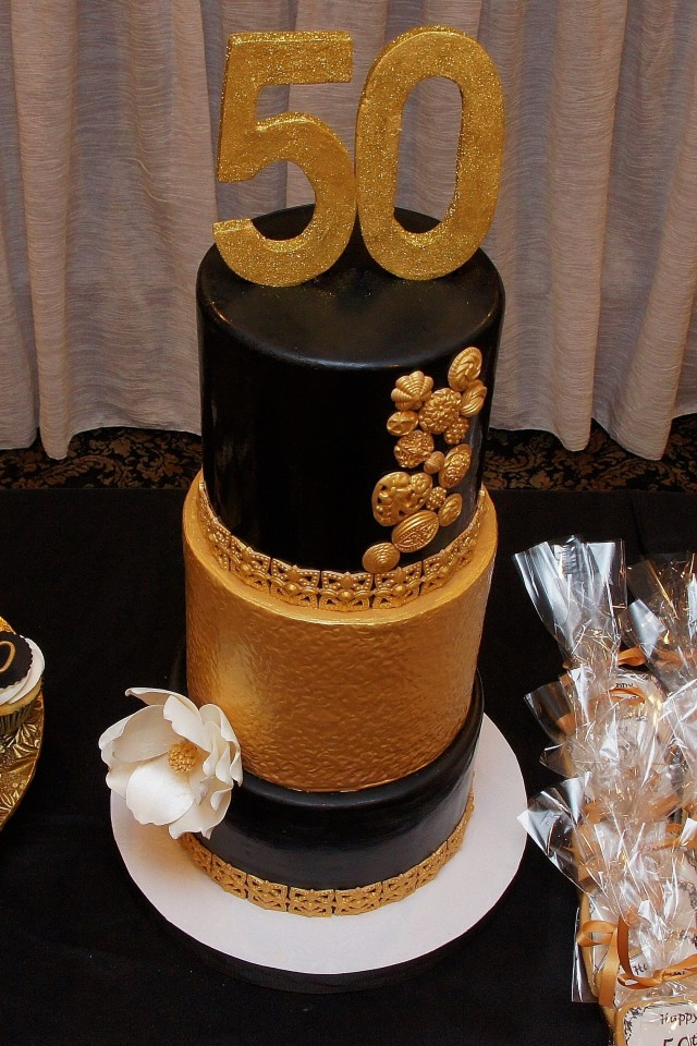 11 Black And Gold For 50th Birthday Sheet Cakes Photo Black And
