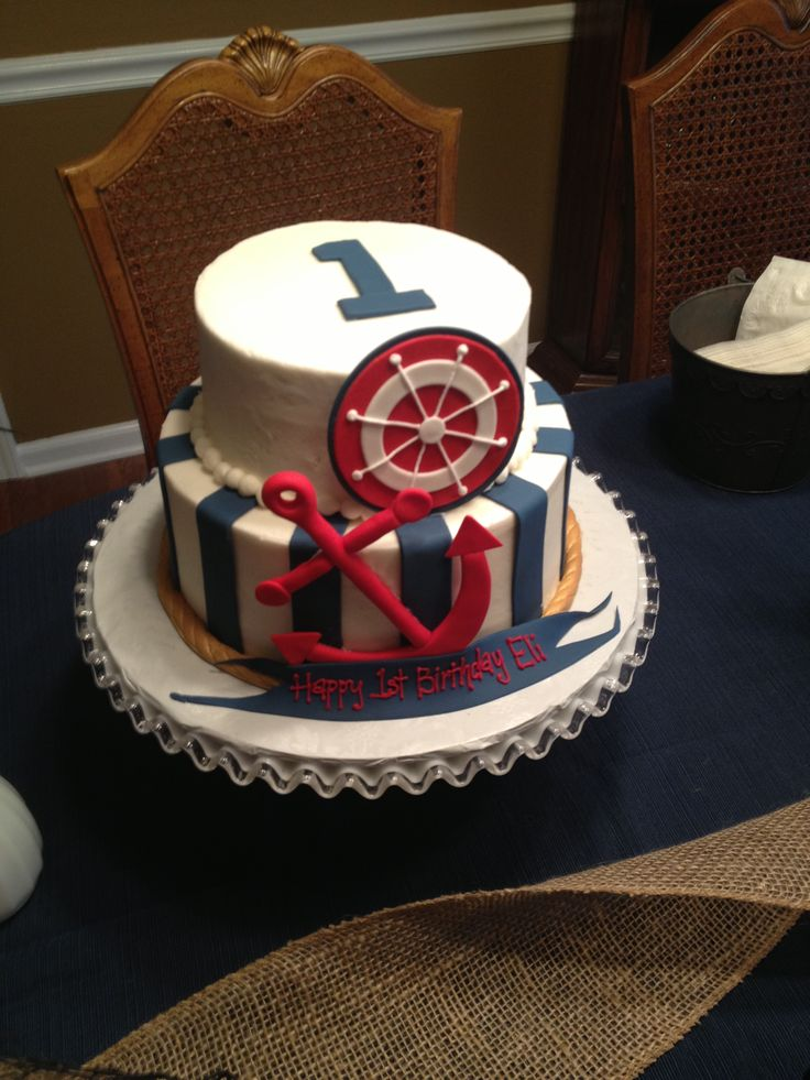 13 Nautical Themed 1st Birthday Cakes Photo Nautical Birthday Cake