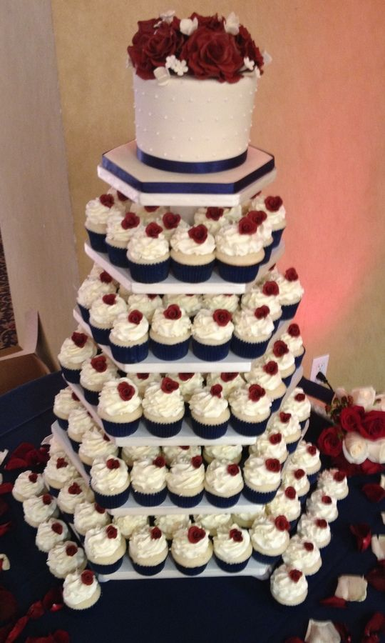 Navy Blue Themed Wedding Cake