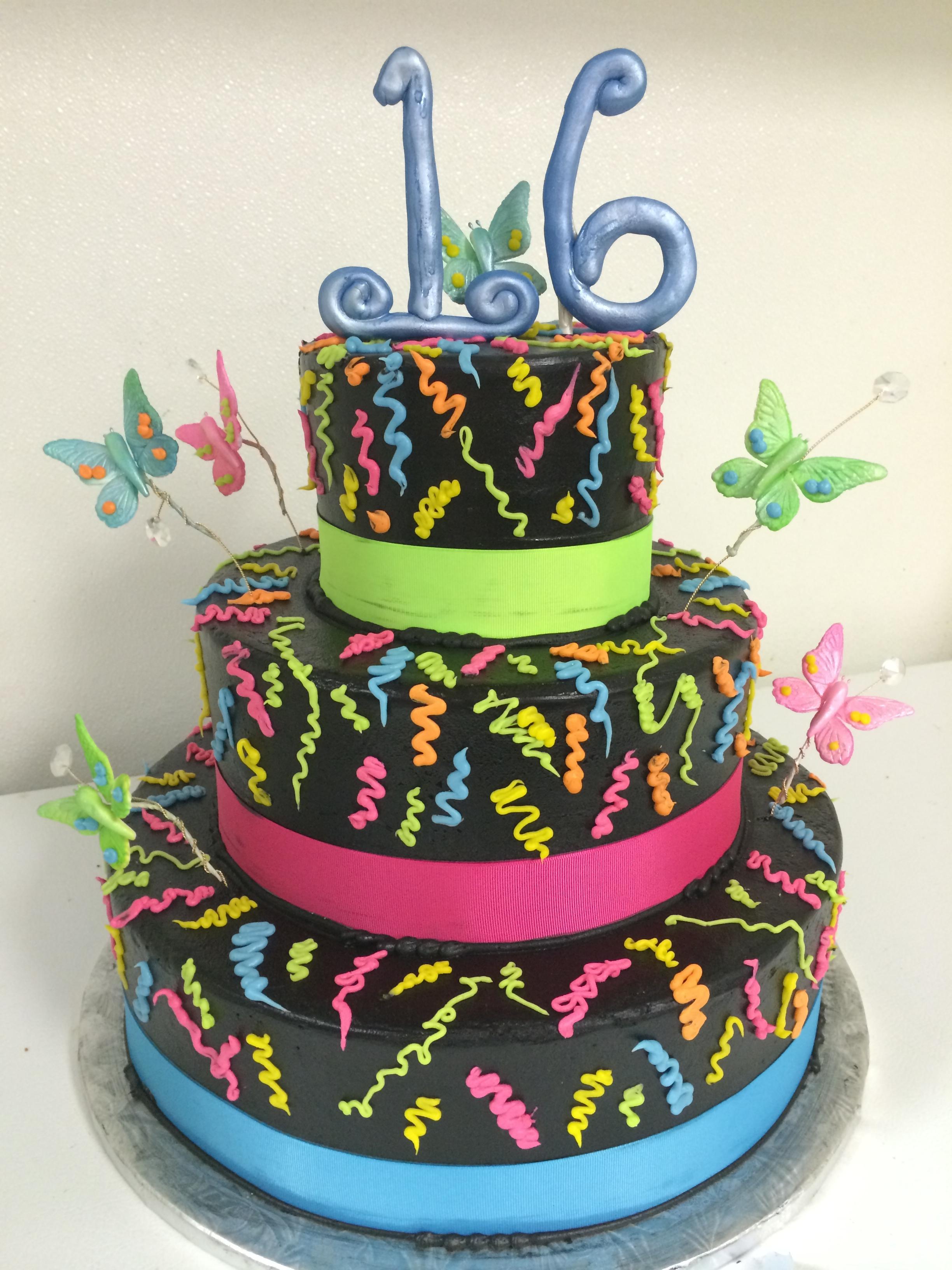 Awe Inspiring 11 Neon 16Th Birthday Cakes Girls Photo Neon Sweet 16 Birthday Birthday Cards Printable Giouspongecafe Filternl