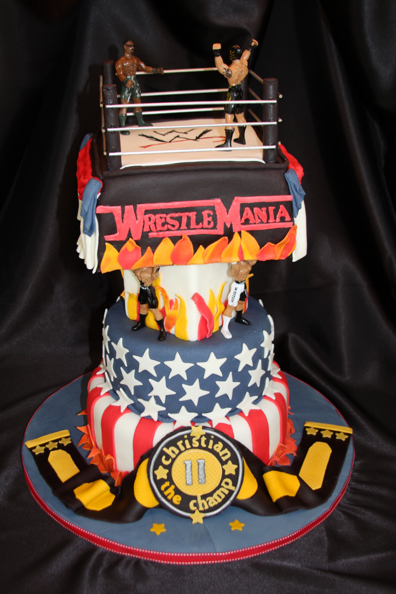 6 Wwe Wrestlemania Cakes Photo Wrestlemania 29 Cake Wwe Birthday