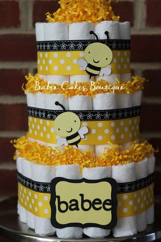 11 Black And Yellow Baby Shower Diaper Cakes Photo Black White And