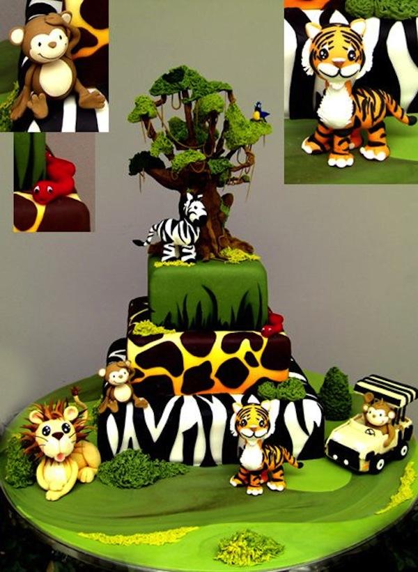 Terrific 12 Safari Party Cakes Photo Jungle Animal Birthday Cake Jungle Personalised Birthday Cards Bromeletsinfo