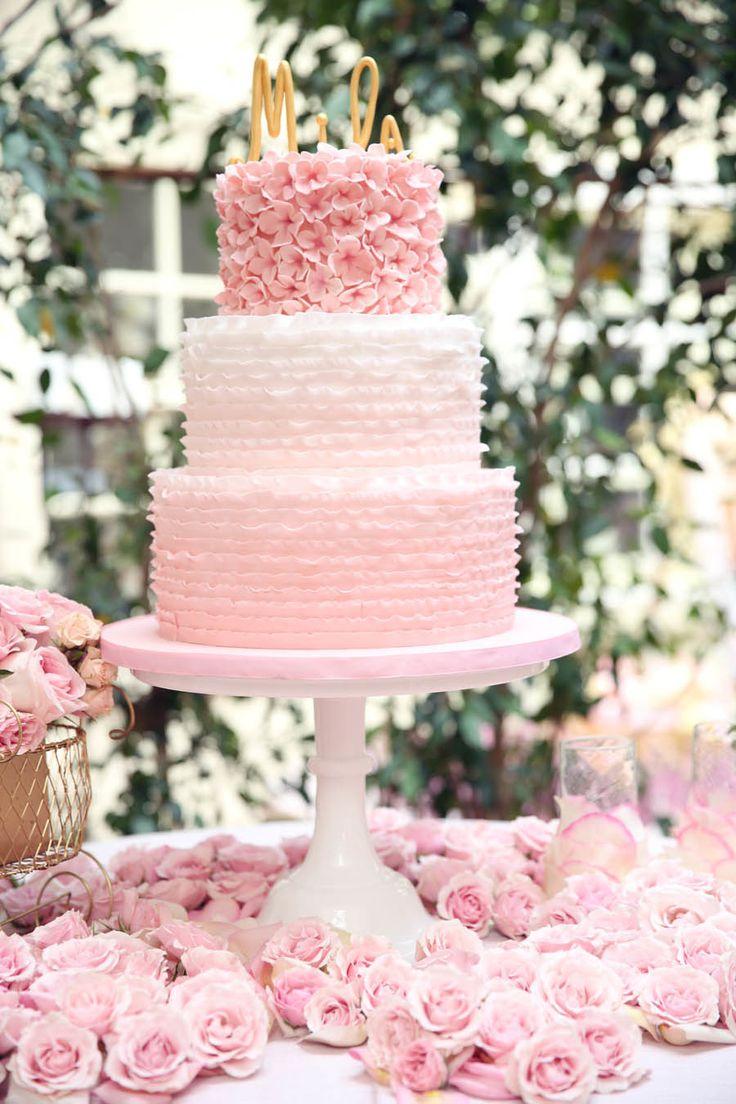 11 Pink Ombre Rose Wedding Cakes Photo - Pink Swirl Cake, Pink Rose ...